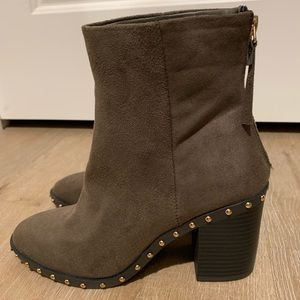 "Ankle boots - 3"" heel - Mushroom brown faux suede"